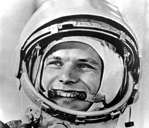 "ADVANCE FOR SUNDAY, APRIL 8 -- FILE--First cosmonaut Yuri Gagarin smiles before blast-off, at the Baikonur launch complex, Kazakstan, in this April 12, 1961 official Soviet news agency file photo. Strapped inside a clumsy, cannonball-shaped capsule atop a converted nuclear missil, Yuri Gagarin exuberantly cried ""Poyekhali (Off we go)!"" (AP Photo/ITAR-TASS) -- COMMERCIAL ONLINE OUT -- 12.04.1961 BAJKONUR , KAZACHSTAN , JURIJ GAGARIN PRZED STARTEM"